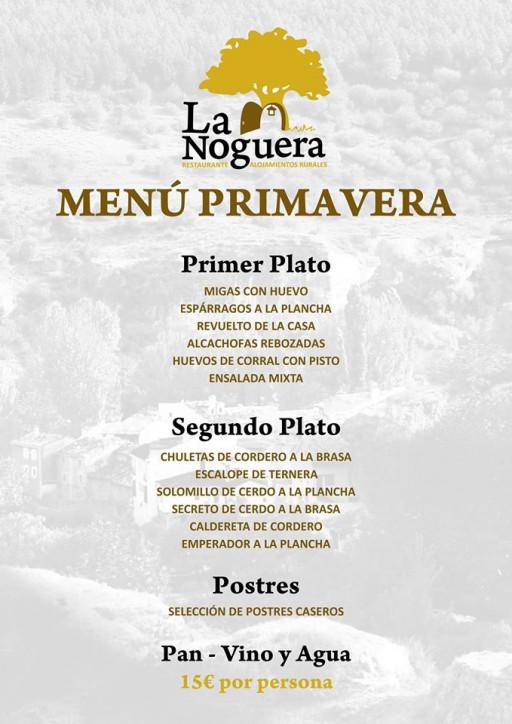 Menú de Primavera | La Noguera | Palomera