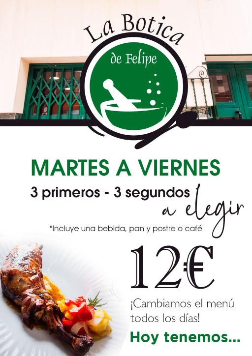 Menú diario de Martes a Viernes | Botica de Felipe