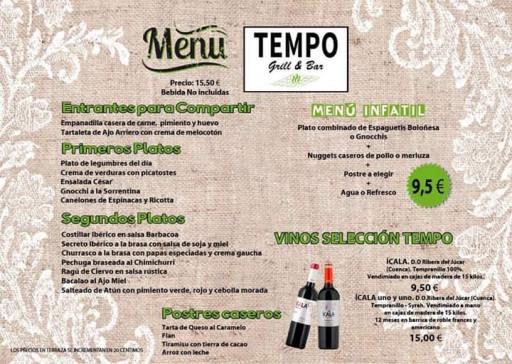 Menú | Tempo Grill&Bar